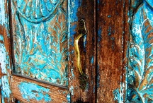 Old Door Love  / There is something so beautiful about an old worn door...chippy paint, fading color, stories of all those who entered. Door knobs, door handles, the hinges, the ways to knock or ring a bell.