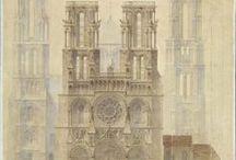 Plans / Au sein de sa planothèque, la MAP conserve environ 170 000 plans, dont 44 000 aquarellés. Datant pour les plus anciens des années 1830, ils constituent une documentation irremplaçable sur les monuments historiques français. En voici une petite sélection...