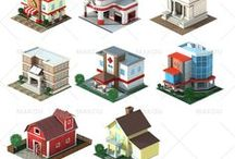 Houses / Isometric houses 3d - low poly