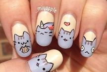 Koty: manicure_Pusheen cat