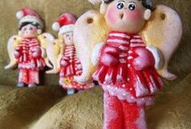 Moje prace - Mikołajowe Aniołki  z masy solnej / Mikołajowe Aniołki  z masy solnej