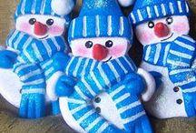 My Works - Salt Dough Little Snowmen /  Salt Dough Little Snowmen