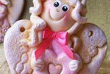 Moje prace - Walentynkowe Aniołki z masy solnej / Walentynkowe Aniołki z masy solnej