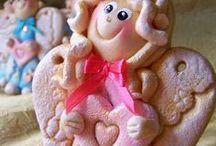 My Works - Salt Dough Angels for the St Valentine's Day / Walentynkowe Aniołki z masy solnej
