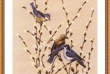 вышивка птички,курочки,гуси.......