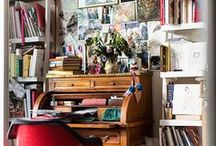 Creative Workspaces | Beautiful Sewing Rooms, Artist Studios, and Craft Corners / Beautiful workspaces that inspire us to create!  Art studios, sewing rooms, and beautifully messy desks.  These artists and crafters have created the most inspiring workspaces we can find!  Each workspace is perfect for inspiring creative work.  Some focus more on organization, while others embrace the messy aspects of creativity! Great inspiration for a sewing room, craft room, or artists studio renovation.   #studio #workspace #sewingroom #office #officerenovation #craftroom #crafty #creative