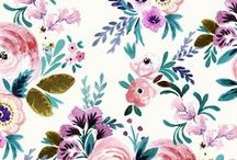 Wedding Floral / Hand painted, illustrated, or drawn floral patterns perfect for weddings.   Everything from watercolor painterly roses to intricate hand drawn floral pattern on fabric, wallpaper, and gift wrap.