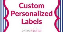 Custom Personalized Labels / Behind the Scenes Belle offers practical products who want to add a little over the top to the ordinary. This product line is a fulfillment of our mission to help busy folks who want to live hospitably. Monogram labels, favor labels, baby showers, bridal showers, graduations parties and holidays.