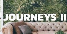 """Journeys II / Journeys 2 is the new mural Tres Tintas collection designed by Mitos Bermejo. Into it you can find a glance of their dreams of journeys, a real """"voyage card"""" that collect the impressions of places, landscapes and cities."""