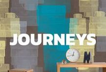"""Journeys / Journeys is the new mural Tres Tintas collection designed by Cárlos Buendía, Pablo Piatti and Jazmin Vasco. Into it you can find a glance of their dreams of journeys, a real """"voyage card"""" that collect the impressions of places, landscapes and cities."""