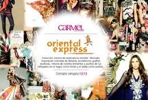 Oriental Express / Colección icónica de experiencia oriental. Delicada inspiración colmada de detalles asimétricos, grafías asiáticas, mezcla de colores brillantes y puntos de luz reflejados en el negro como fondo y el plata como acento.