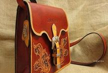 Leather Bags & Purses / A collection of bags and containers created by leather crafters, some featuring beautiful tooled leather.