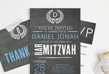 Bar Mitzvah and Bat Mitzvah Invitations / Each card comes in over 150 different colors as each card can be customized instantly online.  Add text and change the colors to match your style.