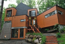 shipping container houses / Repurposing shipping contaiiners into homes. Sounds awful but there are quite a few that are really very good. Recycling at its best! / by Christine Barrett