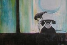 Crows in mixed media