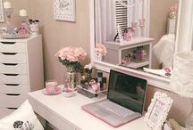 HOME ~ Vanity Desk / Beauty office desk ~ A variety of inspiration for small desks that double as a vanity table.