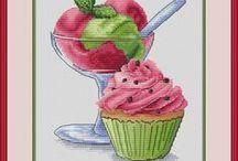 vyšívání - kuchyň - jídlo ovoce - zelenina
