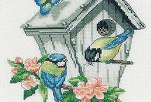 vyšívání - ptáci