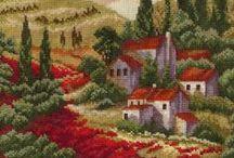 vyšívání - budovy a zahrady