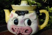 My Cow Teapots / Cows I have collected over the years.