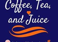 Coffee, Tea, and Juice / Three of my favorite healthy drink choices. Coffees, teas, and juices :)