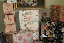 Vintage Wall Papered boxes & such