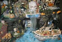 Halloween Village Displays / Miniature Village pieces, vignettes and displays - Department 56, Lemax, Hawthorne Village, etc. / by Chellie Hailes