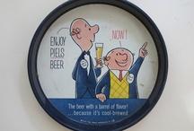 Vintage Beer Trays / Vintage metal beer trays used to serve drinks in bars, advertizing various beers and breweries.