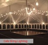 Tent Lighting / These tent lighting options will make your tent look elegant and beautiful. With Cafe Lighting, LED Lighting, Chandeliers and Globe Lighting options, we can work to fit your needs and make your even beautiful.