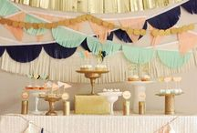 Brunch Baby Shower / pink and green theme. small plates. drink bar. / by Zan Olson