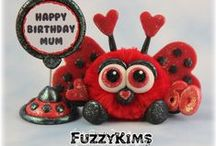 FuzzyKim Bugs / Cute Collectible Whimsical Polymer Clay FuzzyKims that come in a handmade gift box along with an adoption certificate. These are available on my website. Visit my website at: http://www.kimmiesclaykreations.com  FuzzyKims©, are COPYRIGHTED by Kimmie's Clay Kreations®, 2016. All images, rights, colors, designs, concept, and intellectual property belong solely to the owner of Kimmie's Clay Kreations.