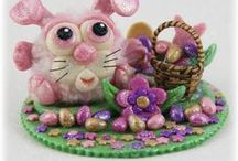 FuzzyKims Easter / Cute Collectible Whimsical Polymer Clay FuzzyKims that come in a handmade gift box along with an adoption certificate. These are available on my website.  Visit my website at: http://www.kimmiesclaykreations.com  FuzzyKims©, are COPYRIGHTED by Kimmie's Clay Kreations®, 2017. All images, rights, colors, designs, concept, and intellectual property belong solely to the owner of Kimmie's Clay Kreations.