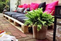 Love My Pallets and Planters / Pallets can become so much more than a discarded pile of wood.  And anything can become a planter.  Get creative on your bad self.