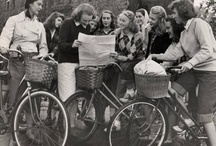 I want to ride my bicycle. / Bicycles and their riders at Mount Holyoke College in South Hadley, Massachusetts.