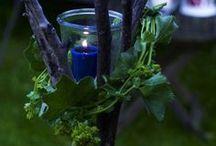 Beleuchtung Garten mit Gläsern und Schnüren