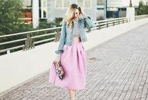 Spring.STYLE / Outfit Inspiration for the changing of seasons.  April Showers bring May flowers and pretty outfits.  Colour. Bare Legs. Sheer Details. Denim. Skirts! Warm Weather. Bright Colours.