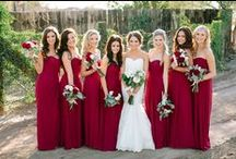 Bridesmaids & Feminine: Red and Burgundy / Bridesmaid dresses in shades of red and burgundy.  #wedding #bridesmaid #bridesmaiddress #redbridesmaiddresss #burgundybridesmaiddress