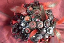Bouquets: Buttons and Bobs / Bridal bouquets made of buttons and bits and bobs. #wedding #weddingbouquet #bridalbouquet #buttonbouquet #buttonbridalbouquet #buttonweddingbouquet #bitsandbobsbouquet #bouquetalternative #alternativebouquet #bridalbouqetalternative #weddingbouquetalternative