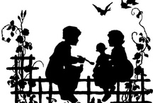 """Silhouettes / They used to be called """"shades,"""" and sometimes """"profiles,"""" """"likenesses,"""" or """"shadow pictures."""" But the familiar black-and-white images we know as silhouettes would, by any name, be just as compelling. When they first appeared in the late 1600s, paper-cut profiles offered a viable alternative to traditional painted portraits. So for a small cost in money and time (adept profilists could scissor a likeness in minutes), the sitter could immortalize his or her self for posterity. Or at least for the friend, sweetheart, or relative to whom silhouettes were often given as mementos. (copied from Country Living website)"""