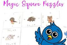 Magic Square Puzzles / Do your students need more practice, but you're all sick of worksheets and endless drills? Try these fun, interactive games! I have over 80 Magic Square Puzzles in my store. More than ten of them are free, and most are UNDER $5. They're great for centers, enrichment, reinforcement, review, test prep, & critical thinking! Great products & free downloads for Kindergarten, 1st, 2nd, 3rd, 4th, 5th, and 6th grade students - and homeschool families! Find them all here: http://bit.ly/1oMFJhu / by Heather aka HoJo