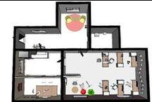 Planritning 3D / Visualiseringar på olika kontorsmiljöer. www.studioroomies.se