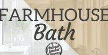 Farmhouse Bath / Our reclaimed wood is perfect for recreating the rustic bathroom look! Check out our website today!   www.antiquelumber.com   Antique Lumber Company   Gainesville, TX