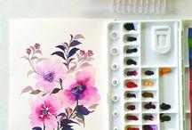 drawing flowers tutorial water colors