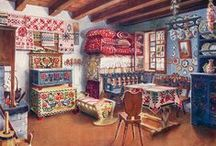 ART Decorative Folk Painting & Design / Design, pattern, traditional, Rosemaling,Amercian, PA Dutch, Mexican, Russian, Gypsy, Norwegian, Swiss, German, Primitive, decorative on utilitarian objects, functional objects with ornamental design.