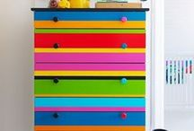 MULTIPLE COLORS painted furniture / Inspiration and ideas on how to use MULTI-COLORED painted pieces in your home.