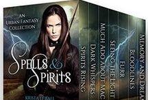 Spells & Spirits storyboard / An urban fantasy box set featuring authors Charles de Lint, Skyla Dawn Cameron, Axel Howerton, E.C. Bell, Randy McCharles, and Krista D. Ball.