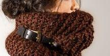 Snood & écharpe / Scarf & snood / Écharpe laine et crochet, snoods tricot et tours de cou bien chauds pour l'hiver.    Infinity scarves, snoods, hand knit cowls, inspiration and free patterns.