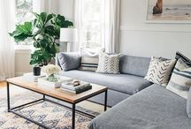 Living Room / Living room home decor inspiration. Modern, mid-century modern, happy modern contemporary styles with pops of bright, bold color.