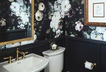 Powder Room / Glamorous, luxe, bold, colorful powder room. Dark, dramatic, detailed wallpaper to create a fun powder room for guests.