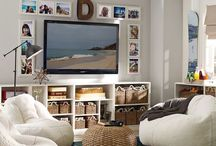 Game Room / Cozy and comfy game room decor ideas. Plush bean bags, rugs, TV stands, and organizing furniture for toys and games.